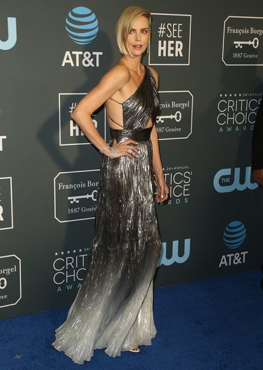Charlize Theron at the 24th Annual Critic's Choice Awards a day after her alleged meet up with Brad Pitt