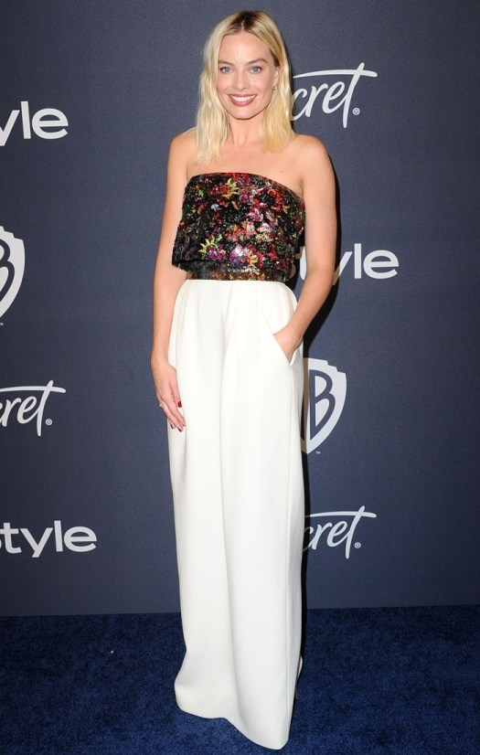 Margot Robbie in a metallic top with a white skirt at the 2020 Golden Globe Awards