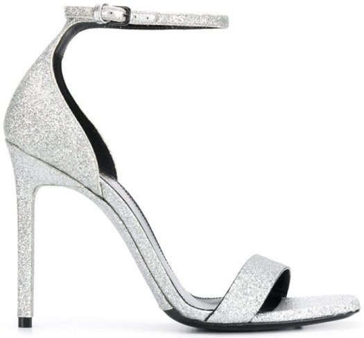 Silver-tone leather Amber 105 sandals from Saint Laurent featuring an open toe, a buckle fastening, a branded insole, glitter details and a mid high stiletto heel