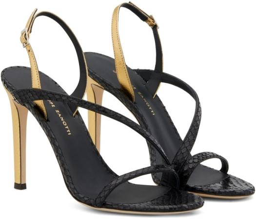 Black leather Polina sandals from Giuseppe Zanotti featuring a strappy design, a branded insole, a slingback ankle strap, a side buckle fastening, a snakeskin pattern and a high heel