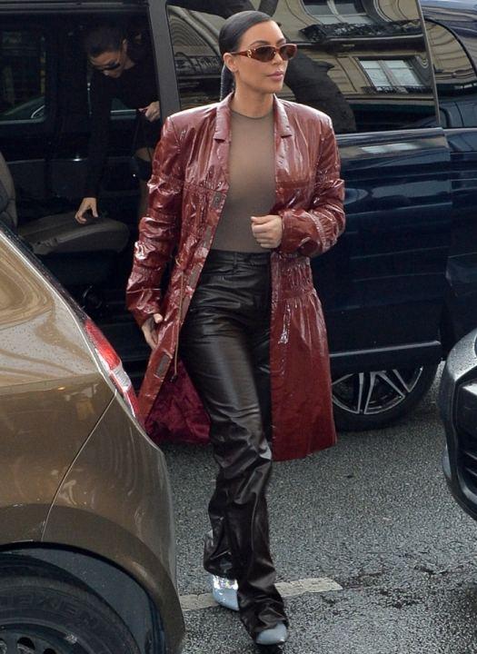 Kim Kardashian West wears Balenciaga's iridescent silver sequin-embroidered Knife booties