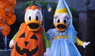 """Donald and Daisy Duck are decked out in their Halloween party-wear in front of the Haunted Mansion at the Magic Kingdom in Lake Buena Vista, Fla. It's all part of the fun that takes place when the Magic Kingdom hosts """"Mickey's Not-So-Scary Halloween Party."""" Activities include trick-or-treating, a Halloween parade and Disney's """"Happy HalloWishes"""" fireworks show. A separate ticket is required to attend. (Kent Phillips, photographer)"""
