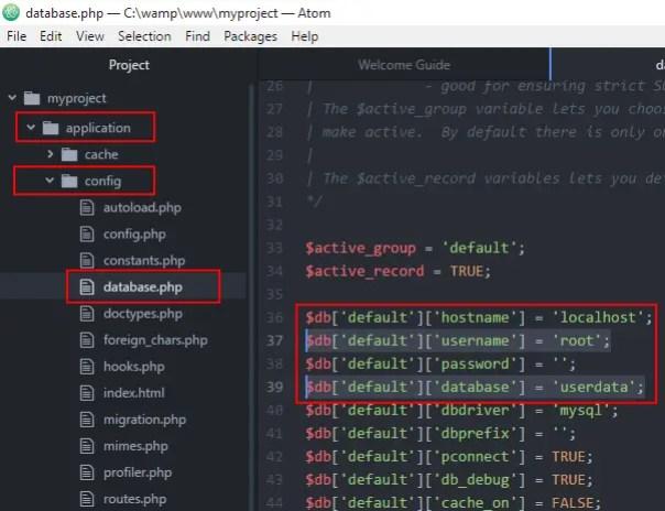 CodeIgniter database configuration with MySQL