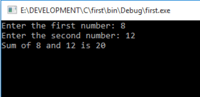 Accept two numbers and find sum in C