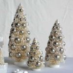 Creative Co Op Set Of 3 Bottle Brush Christmas Trees With Silver Balls