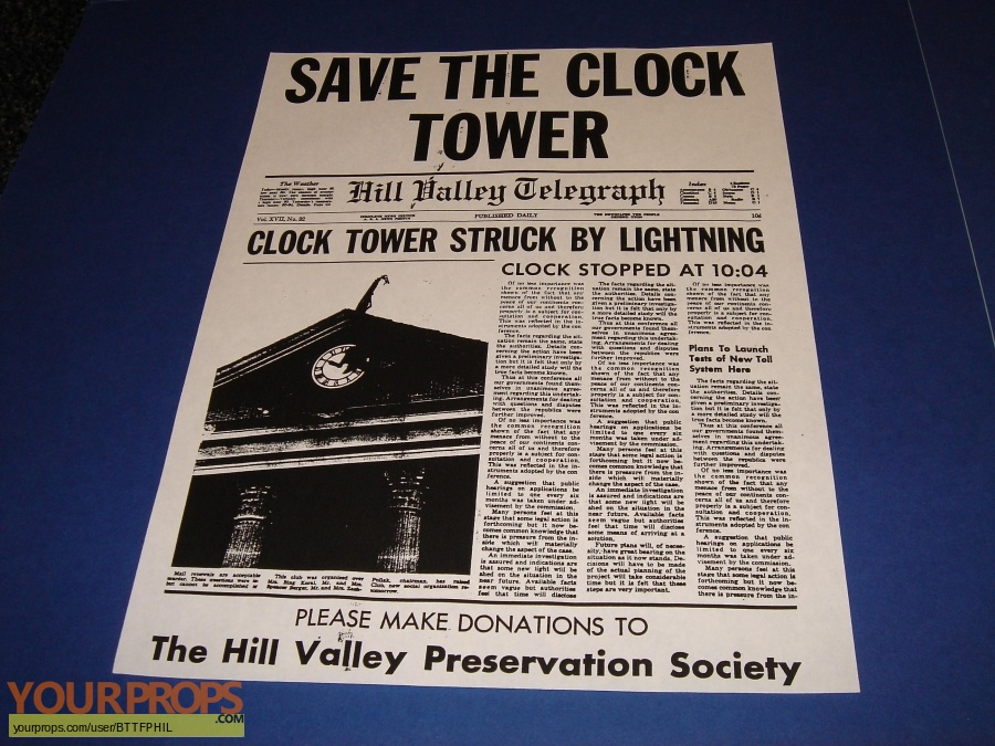 Back To The Future Prop Save The Clock Tower Flyer