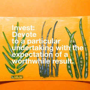 Invest: Devote to a particular undertaking with the expectation of a worthwhile result