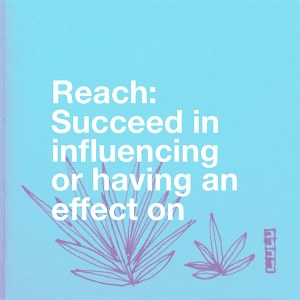 Reach - Succeed in influencing or having an effect on