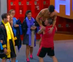 Cody Califiore is congratulated by Caleb Reynolds for winning HOH in Big Brother 16 episode 27