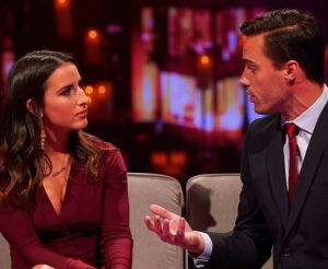 Sachelle comes face to face with Tim Warmels after being sent home after home town dates on The Bachelor Canada 2 Woemn Tell All