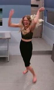 Sarah Hanlon does the Anick Gervail dance for joy in the storage  room on Big Brother Canada 3 Episode 1