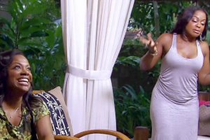 Kandi Buress and Phaedra Parks have a good laugh after a foot massage on RHOA Drama Detox