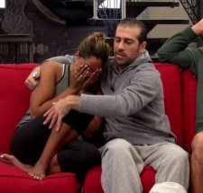 Bruno Ielo comforts Brittnee Blair as she is put on slop for the 5th time on BBCAN3 episode 21