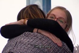 Brittnee Blair and Sarah Hanlon give each other comfort on BBCAN3 episode 22