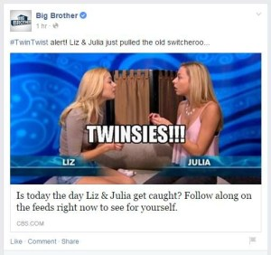 @CBSBigBrother #BB17 official account tweets moments before Da'Vonne exposes her knowledge of the #TwinTwist on the live feeds
