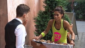 """""""Krakow, I'm Gonna Get You""""--In this Road Block, Tiffany (right) must fulfill then deliver an order of food to the Klezmer Hois in order to receive the next clue on THE AMAZING RACE, Friday, Nov. 13 (8:00-9:00 PM, ET/PT) on the CBS Television Network. Photo: CBS ©2015 CBS Broadcasting, Inc. All Rights Reserved"""