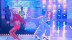 Cynthia Lee Fontaine and Robbie Turner face off in the first ever Lip Sync For Your Life on roller skates #DragRace