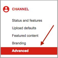 Advanced Tab in YouTube
