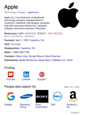 Apple Knowledge Graph card