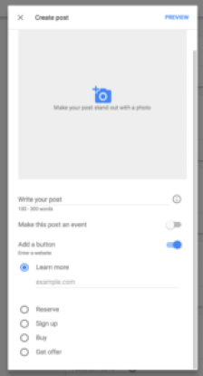 Screenshot of Google Posts Interface