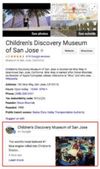 Sample Google Post in Knowledge Graph