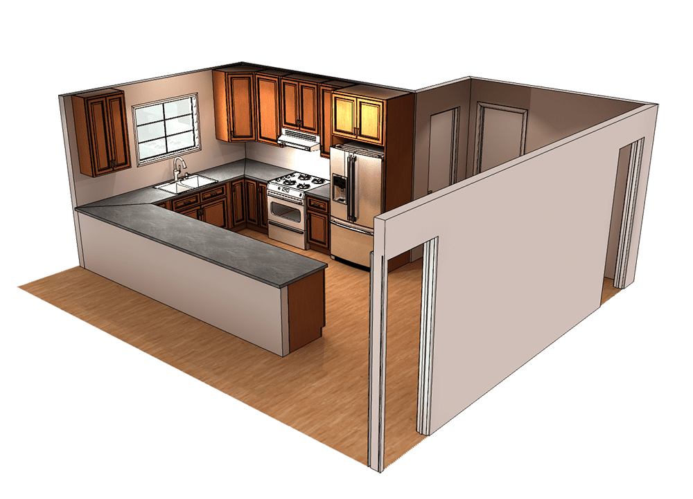 Traditional Kitchen with Bar Seating