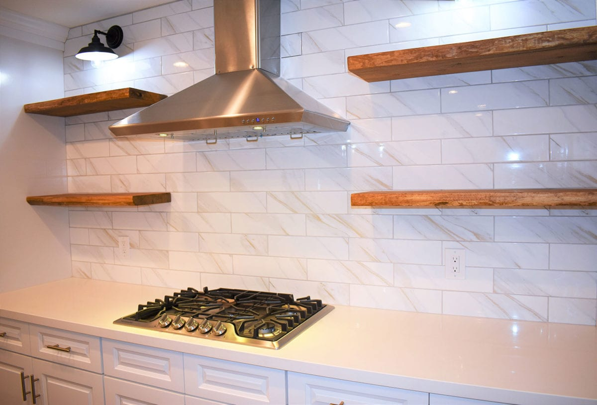 Remodeled kitchen stovetop and range hood