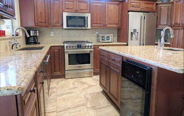 kitchen remodel with cherry cabinets and granite countertops