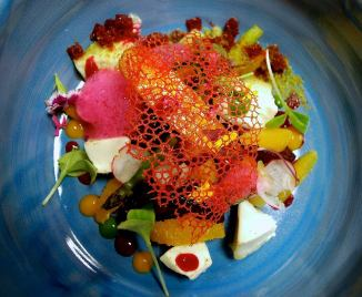 The Cellar Door La Zenia Playa Flamenca Alicante Restaurant Costa Blanca Goats cheese, caramelised beetroot, marinated orange and radish salad