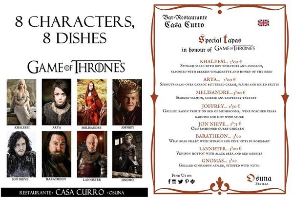 Game Of Thrones Tapas Menu