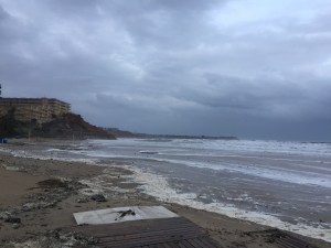 Campoamor beach during the Flood and Heavy Storm