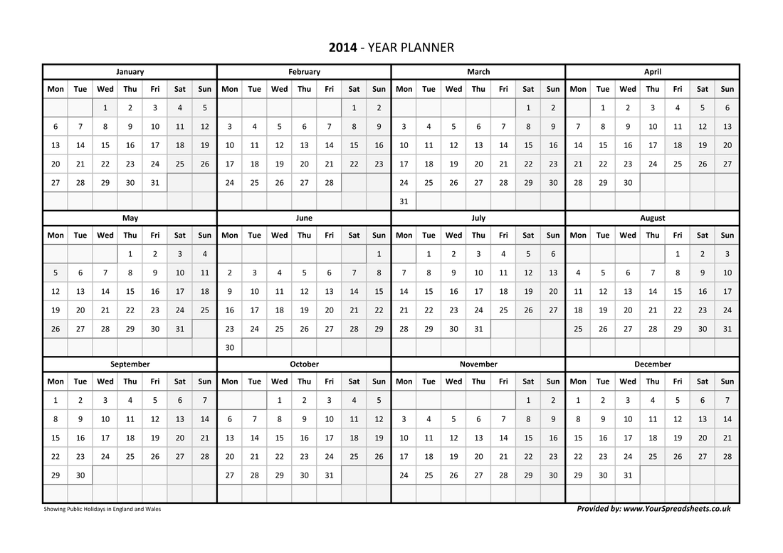 A4 Horizontal With Week Numbers Year Planner - Black And White