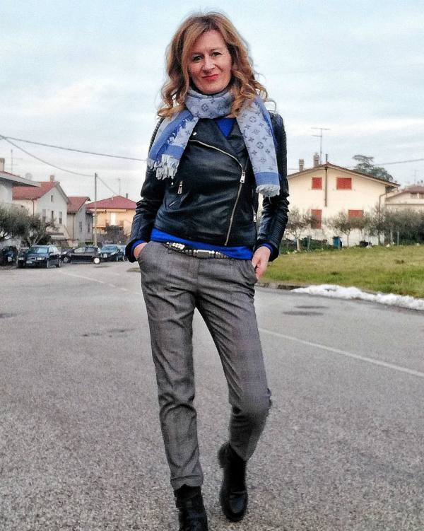 mix and match elegant trousers and moto jacket
