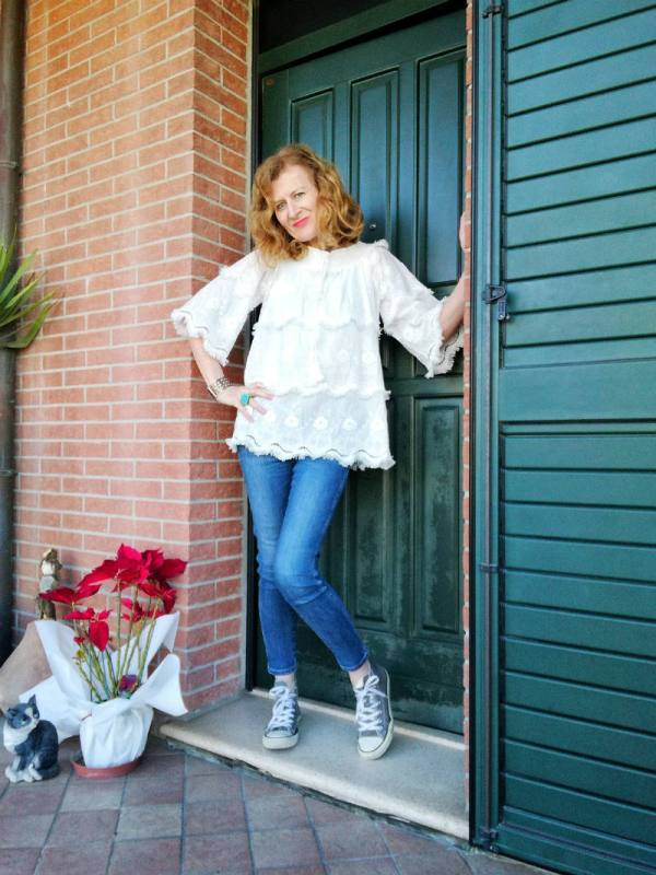 white laced blouse