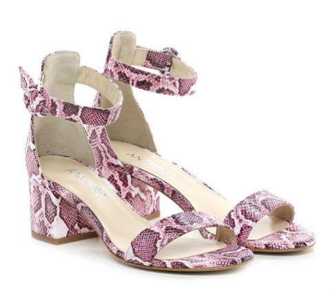 sandalo stampato pitone rosa con tacco medio