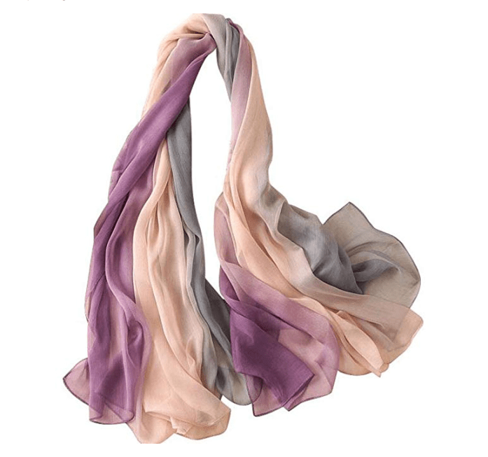 soft silk sarong with pink and brown shades