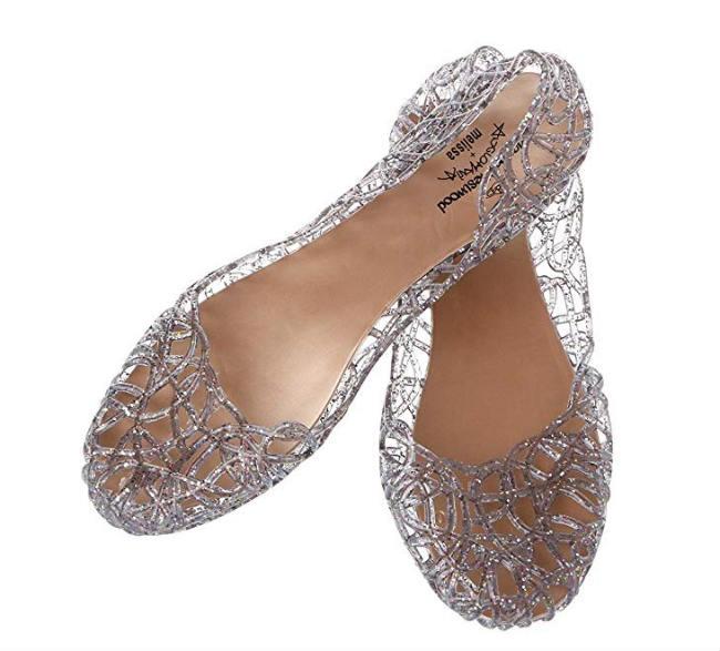 sandali di gomma trasparente decorati a ricamo