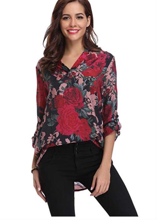 blusa a fiori in chiffon 16,99 Euro, su Amazon