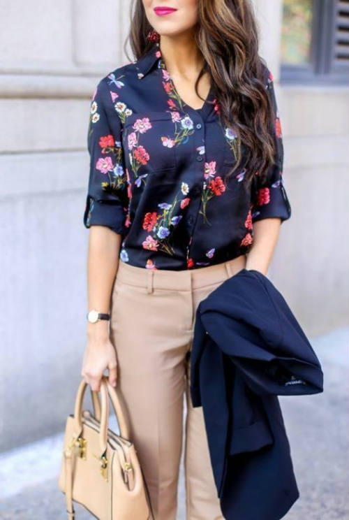 floral blouse for the office look