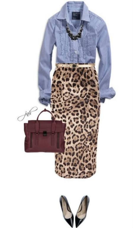 leo print skirt and denim blouse, from Pinterest