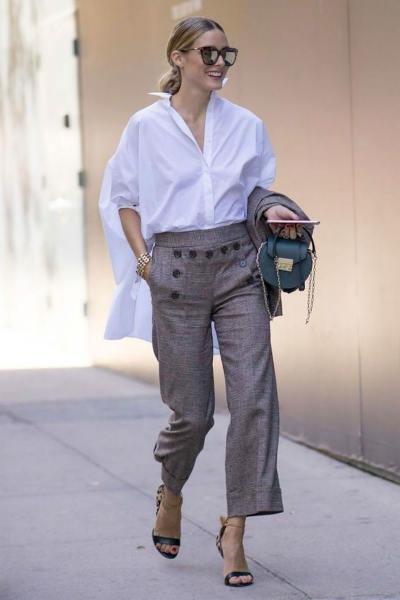 blusa bianca e pantalone eelegante