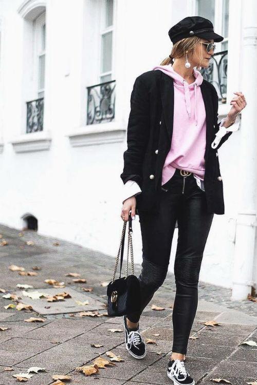 felpa rosa e blazer, Pinterest