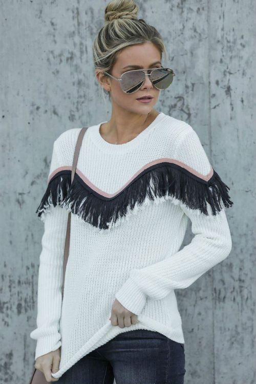 fringe trim on a white sweater, Pinterest