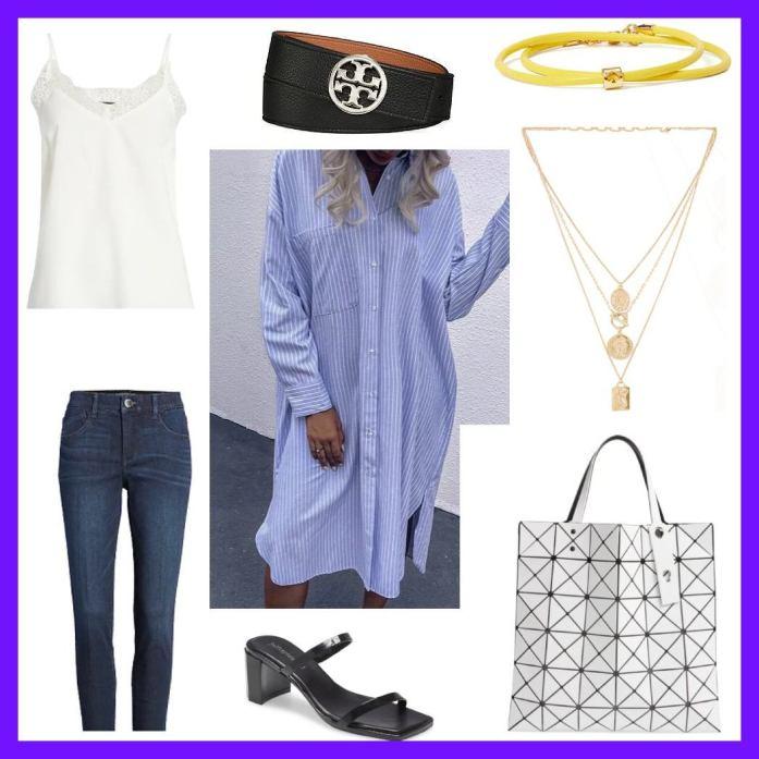 shirt dress, tank top and jeans