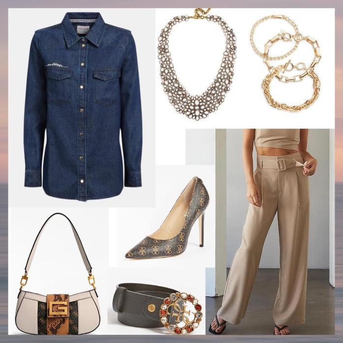 camicia di jeans e pantaloni eleganti