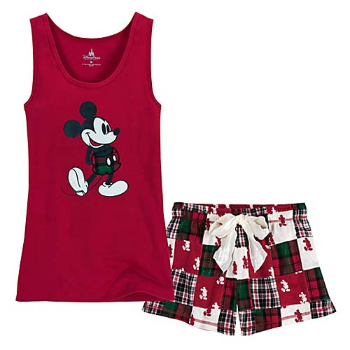 Your WDW Store  Disney LADIES Pajamas  Mickey Mouse Patchwork Red