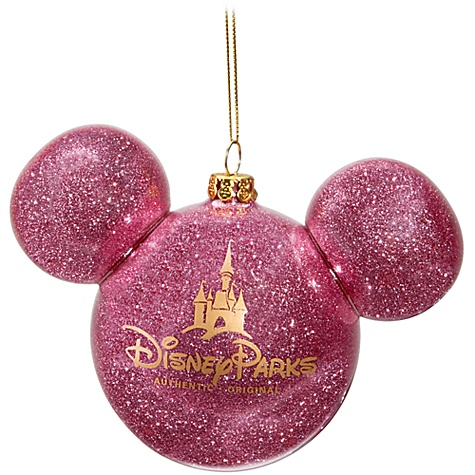 Disney Christmas Ornament Mickey Mouse Ears Ball Pink