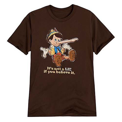 Disney ADULT Shirt Pinocchio Tee Its Not A LIE If You