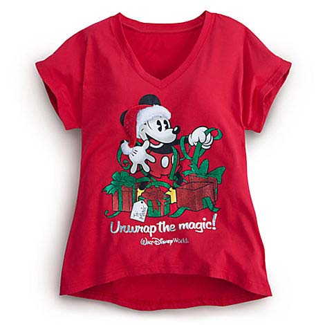 Disney WOMENS Shirt  Christmas  Mickey Mouse Unwrap the Magic