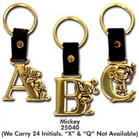Your WDW Store - Disney Initial Keyring - Mickey Mouse - Brass